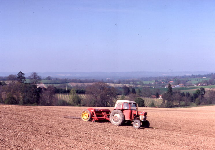 Sowing spring barley at South Park, 1981. The Grove and Warren farm in distance.