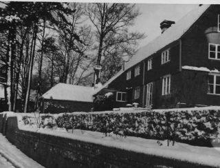 Doubleton Farmhouse and snow 1950s